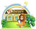 A lion outside a library illustration of on white background Royalty Free Stock Image