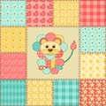 Lion patchwork pattern vintage seamless cartoon background Stock Photos