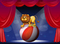 A lion performing at the circus illustration of Stock Images