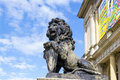 Lion on the porch kaliningrad russia september sculpture of a of koenigsberg stock exchange kaliningrad koenigsberg before Stock Photography