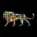 Lion predator color silhouette animal