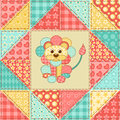 Lion quilt pattern vintage patchwork seamless cartoon background Stock Photos