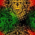 Lion rasta pattern Royalty Free Stock Photo