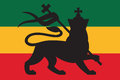 Lion rastafarian flag with the of judah Royalty Free Stock Images