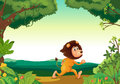 A lion running in the forest illustration of Royalty Free Stock Images