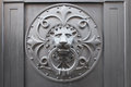 Lion s head door knocker on metal Royalty Free Stock Image