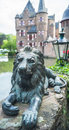 Lion s sculpture next to the satzvey castle germany may as a symbol of protection Stock Images