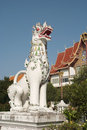 Lion sculpture is available in the thai temple Royalty Free Stock Photos