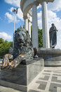 Lion Sculpture near the Cathedral of Christ the Savior. Royalty Free Stock Photo
