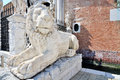 Lion sculpture in venecia italy front of arsenal Stock Photo