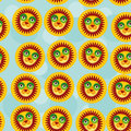 Lion seamless pattern with funny cute animal face on a blue back background vector Royalty Free Stock Images