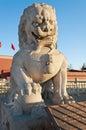 Lion statue cerca de la puerta de tienanmen la puerta de la paz divina sea Imagen de archivo libre de regalías