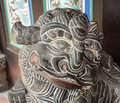 Lion statue at Chinese pagoda in Singapore Royalty Free Stock Photo