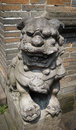 Lion statue at Chinese temple Royalty Free Stock Photo