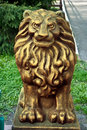 Lion statue gold color Stock Photos