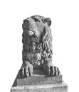 Lion statue isolated on socket on white background Royalty Free Stock Image