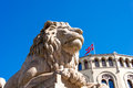 Lion statue near storting norwegian parliament oslo norway Stock Photo