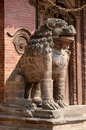 Lion statue at pattan durbar square in kathmandu nepal unesco heritage Royalty Free Stock Photos