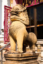 The lion statues made ​​of stone. Royalty Free Stock Photo