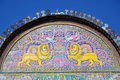 Lion and sun tilework of at zinat ol molk mansion in shiraz iran Stock Photos
