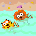 Lion and tiger swims an illustration of a a swimming in the beach Stock Image
