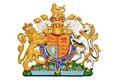 Lion and unicorn on english heraldic coat of arms isolated on white background Royalty Free Stock Photo