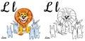 Lion. Vector alphabet letter L, coloring page