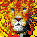 Lion vector illustration. Abstract wild cat animal portrait. Predator colorful background.