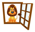 A lion in a window detailed illustration of Stock Image