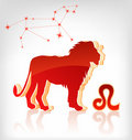 Lion zodiac astrology icon for horoscope Royalty Free Stock Photography
