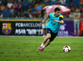 Lionel andres messi kuala lumpur august barcelona football club striker dribbles the ball during training session at the bukit Stock Photos