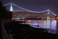 Lions Gate Bridge, Burrard Inlet, Night Royalty Free Stock Photo