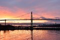 Lions gate bridge and downtown vancouver at sunrise winter Stock Photography