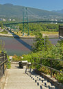 Lions Gate bridge seen from Prospect Point. Royalty Free Stock Photo