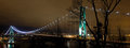 Lions Gate Bridge in Vancouver Bc at Night Royalty Free Stock Photo