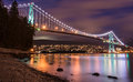 Lions Gate Bridge in Vancouver at Night Royalty Free Stock Photo