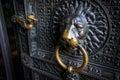 Lions head doorknob on an old church door Royalty Free Stock Photo