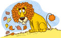 Lions mane the illustration shows a cartoon lion with a of autumn leaves Royalty Free Stock Photography