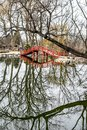 Lions Park Pond Bridge Reflection - Janesville, WI Royalty Free Stock Photo