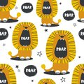 Lions and stars, colorful seamless pattern Royalty Free Stock Photo