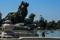 Lions statues of in el retiro Royalty Free Stock Photography