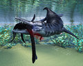 Liopleurodon attacks plesiosaurus a hapless becomes a meal for the much larger aquatic reptile Stock Image