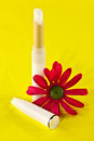 Lip balm and silk flower a stick of a on yellow background Royalty Free Stock Images