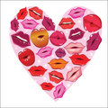 Lip print heart Royalty Free Stock Photo