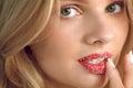Lip Skin Care. Beautiful Woman With Sugar Lip Scrub On Lips Royalty Free Stock Photo
