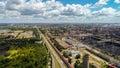 Lipetsk, Russia - July 11. 2017. View of Metallurg street and NLMK plant