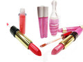 Lipgloss lipstick cosmetic set for makeup Stock Photography