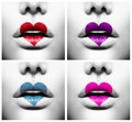 Lips with colorful heart shape paint collage of beauty sexy Stock Photo