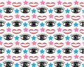 Lips and eyes vector pattern. Endless Wallpaper imprint of red lips, black eyes and stars