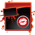 Lips on halftone banner Stock Image